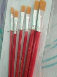 Cj de 6 Pincel artesanato ponta chata pintura oferta aproveite liquida