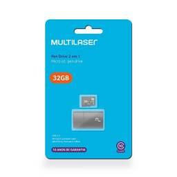 Cartão Memória Micro SD 32GB Classe 10 Adaptador Usb Multilaser