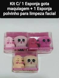 Kit C/ 1 Esponja Gota Para Maquiagem + 1 Esponja Polvinho Para Limpeza Facial