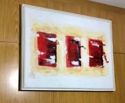 Quadro pintado a mão - branco e vermelho