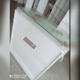 Balcão de atendimento com prolongadores e vidro 100%mdf