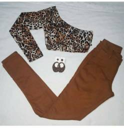 Cropped de oncinha e calça jeans com lycra