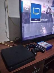 Ps4 slim edição 1tb 2 controles 3 jogos em cd aceito Pc gamer xbox com volta