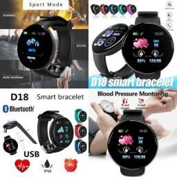 Smartwatch D18 Bluetooth com Monitor de Saúde, Atividade Física e Mídias Sociais
