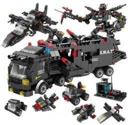 Lego, 418 Peças, Blocos de Construção, Swat, Caminhão, helicóptero, Robo, Novo, Tipo Lego