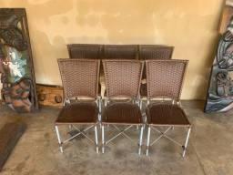 6 cadeira de vime