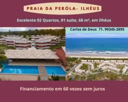 Praia da Peróla:  02 Quartos, 01 suíte, 68 m², varanda, vista mar, em Ilhéus