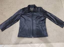 Jaqueta de couro legítimo feminina