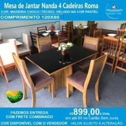 Mesa Nanda R 4 Cadeiras  120X80 Madeira Cor: Choco