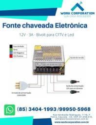 Fonte Chaveada Eletrônica 12V 3AP, para CFTV e Led