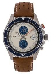 95120e28984 Relógio Fossil Ch2951 Wakefield Bege azul Chrono 44mm Novo!