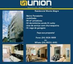 Oferta Imóveis Union! Apartamento mobiliado e com 84 m² a venda, no Panazzolo!