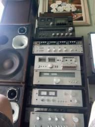 Receiver amplificador toca disco tape deck equalizador