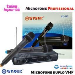 Microfone duplo Sem fio VHF