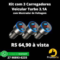 Oferta!!! Kit com 3 Carregadores Veicular Turbo 3,1A