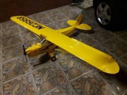 Aeromodelo piper cub completo motor 4 tempos servos futaba pronto para voar