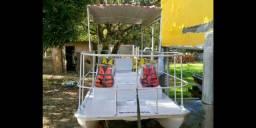 Lancha tipo Catamarã 8 lugares + Carreta + Motor de popa