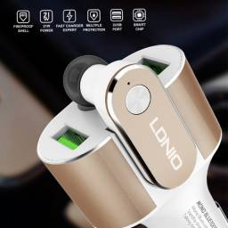 Kit Carregador Veicular + Fone Bluetooth Cm22 Ldnio