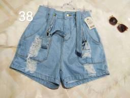 Salopete short jeans roupa feminina