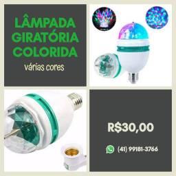 Lampada colorida Giratória- Luz de Festa