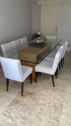 Mesa de jantar retangular com 8 cadeiras