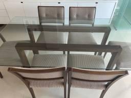 Mesa de jantar 6 lugares madeira com tampo de vidro