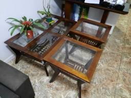 Conjunto Mesas de centro e canto em Madeira Com Tampo de Vidro