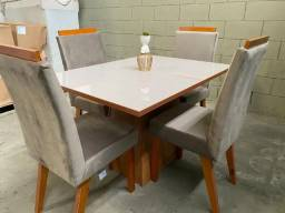 Mesa de Jantar Joli 120×90 c/ 4 cadeiras Suede Cinza ? Vidro OffWhite