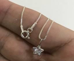 Conjunto prata pura de estrelas em zircônia colar pingente e brincos