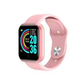 relógio smartwatch d20 y68 rosa compatível android e ios