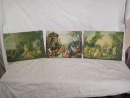 3  Pinturas de óleo sobre tela com cenas de Época - Lisboa - Porto