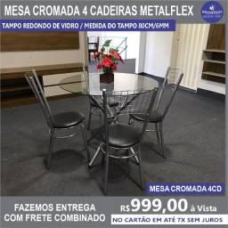 Mesa Cromada 4 Cadeiras Vidro Redondo