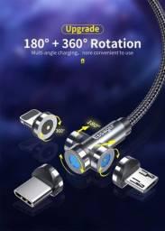 Cabo Carregador Magnético USB 540° c Led ANDROID/IOS