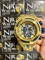 Relógio Invicta bolt zeus banhado detalhes azul novo