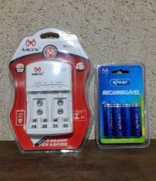 Carregador de pilhas + Pilhas AAA ou Pilhas AA