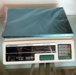 Balança digital comercial bivolt 5g a 40kg bateria recarregável, e a energia.