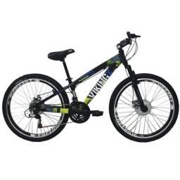 Bicicleta Vikingx Tuff 25 Shimano Freio a Disco Preta/Verde Freeride