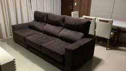 Sofá retrátil e reclinável de 3 lugares