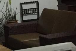 Sofá de junco natural e couro !