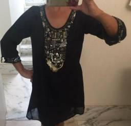 Vestido Túnica Bordada Zara