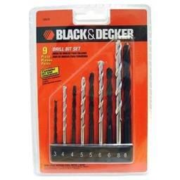 Jogo de Brocas de Aço Rápido, Concreto e Aço Carbono - 9 Pçs - Black + Decker