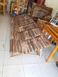 Espreguiçadeiras em madeira para bronze/praia