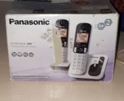 Telefone Panasonic 2 em 1 sem fio prata digital identificador de chamadas agenda novo