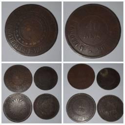 Moedas 40 Reis 1912 e 1889, 20 Reis 1908 e 100 reis 1881