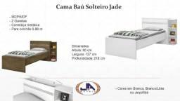 Wpp-9647=83304- Cama Solteiro Baú Jade