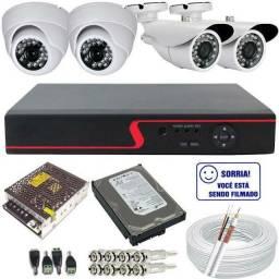 Kit Cftv com Câmeras 4 câmeras com instalação inclusa R$999 O Melhor Preço do mercado