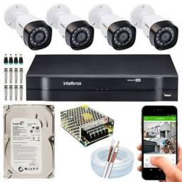 Kit Intelbras com 4 Cameras CFTV em HD Completo Já instalado