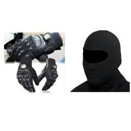 Kit Luva Motoqueiro anti queda + touca balaclava ninja