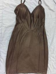Vestido Couro Eco preto texturizado