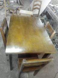 Mesa c/ 4 Cadeiras Tudo em Madeira Móvel Novo Leia a Descrição